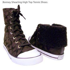 Coach bonney sherling high top sherpa lined shoes